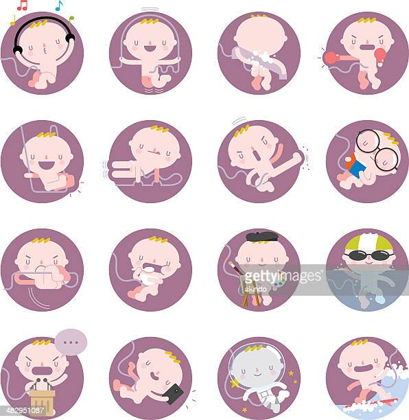 baby fetus - placenta stock illustrations, clip art, cartoons, & icons