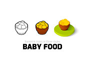Baby food icon in different style