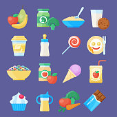Baby food icon set