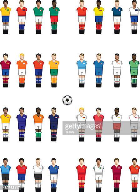 baby foot international players - football strip stock illustrations