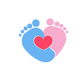 Baby footprints twin baby girl and boy icon