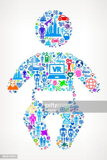 baby zukunft und futuristische technologie vektor icon hintergrund - piktogramm collage stock-grafiken, -clipart, -cartoons und -symbole
