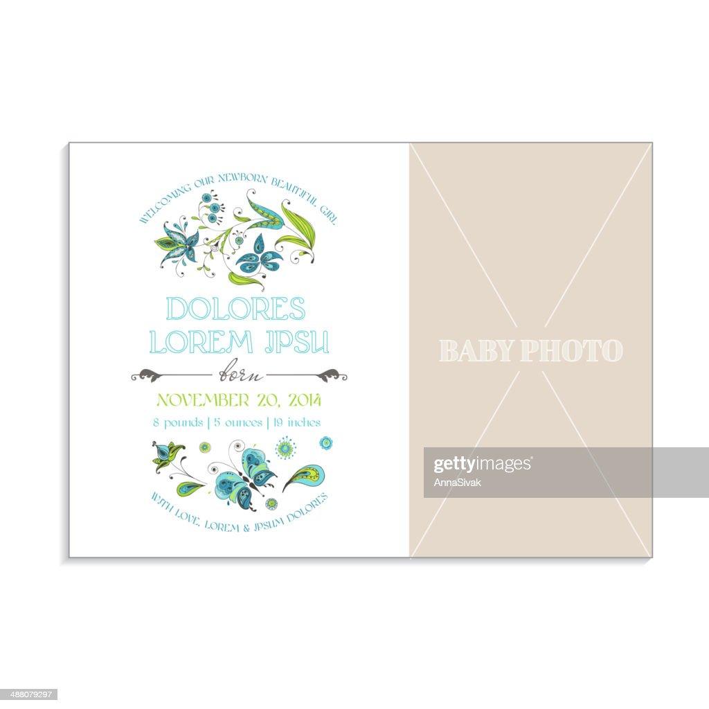 Baby Girl Arrival Card
