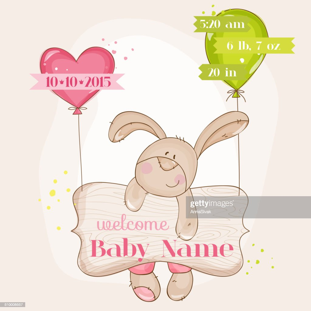 Baby Girl Arrival Card - with Cute Baby Bunny