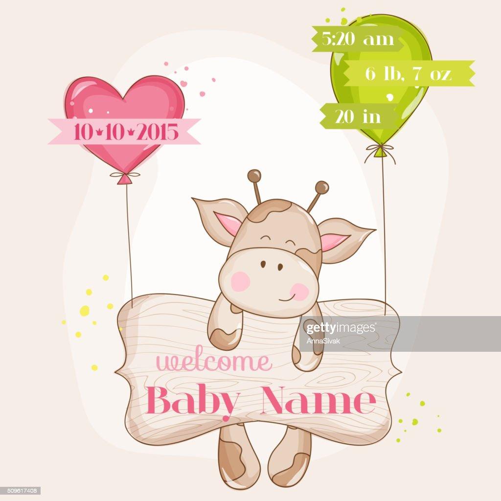 Baby Girl Arrival Card - with Cute Baby Giraffe