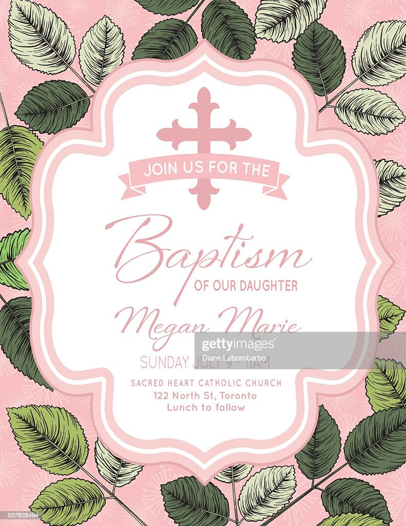 baby girl baptism or christening invitation template vector art