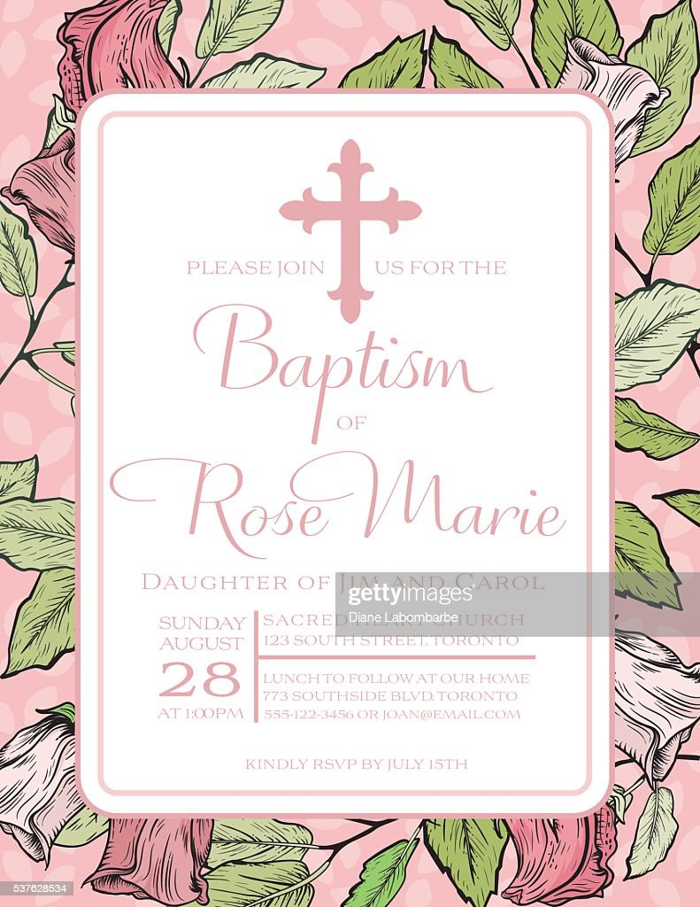 Baby Girl Baptism Or Christening Invitation Template Vector Art ...