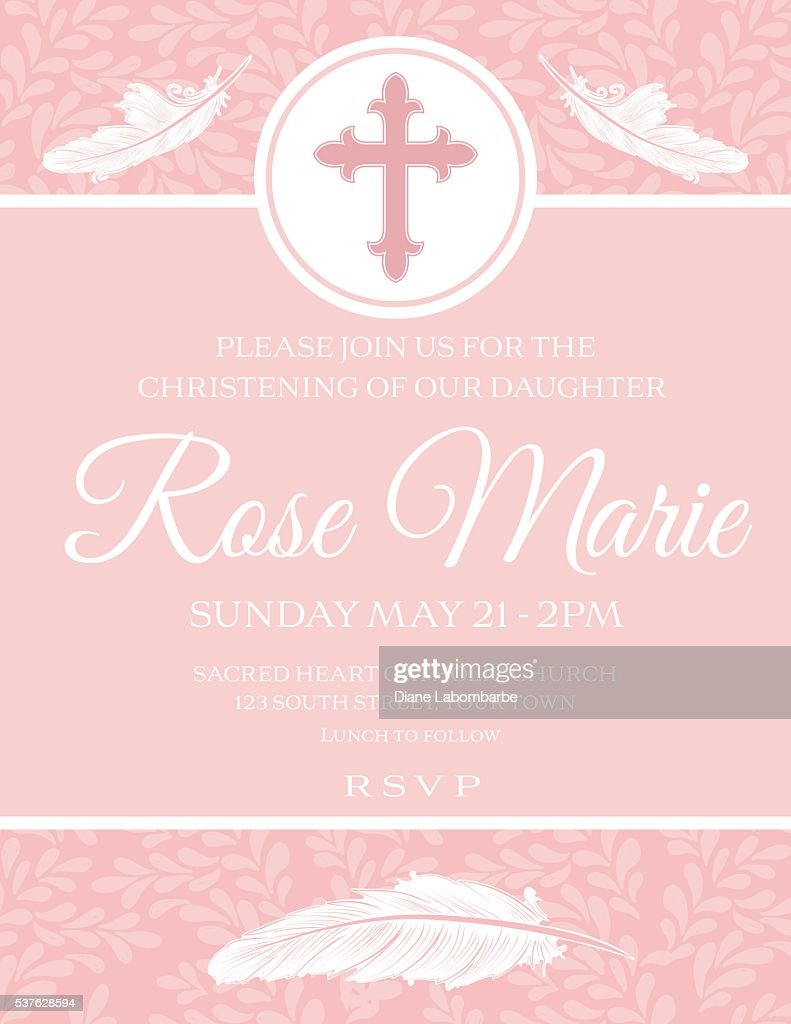 baby girl baptism or christening invitation template vector art