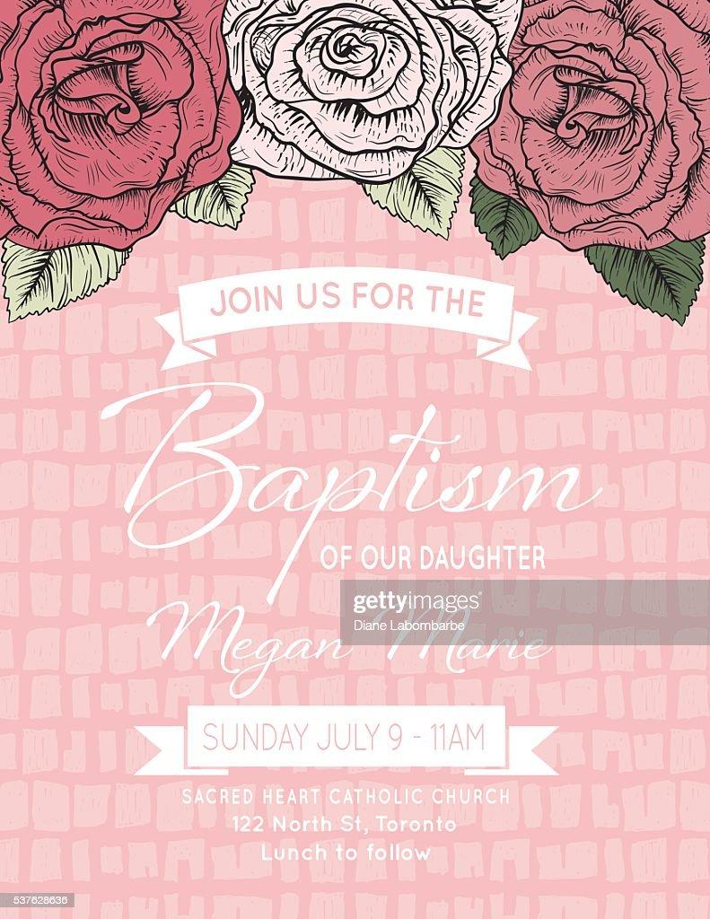 Baby Mädchen Taufe Oder Taufe Einladung Vorlage Stock