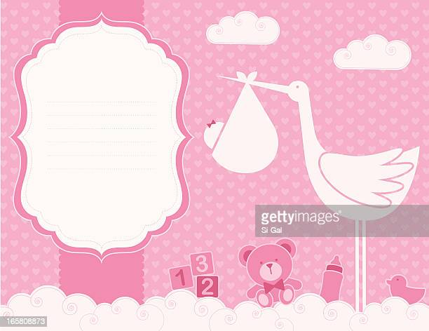 Baby Girl Birth Announcement Card (Family LIfe Series)