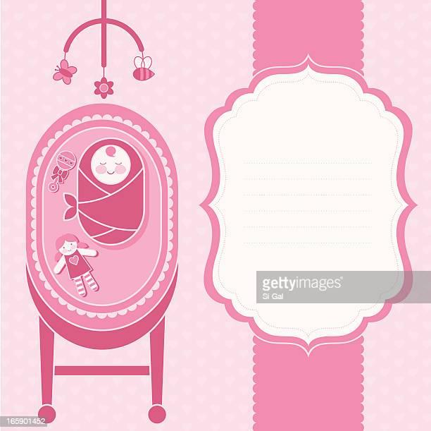 ilustrações de stock, clip art, desenhos animados e ícones de cartão do anúncio bebê menina nascimento (vida familiar série - chadebebe