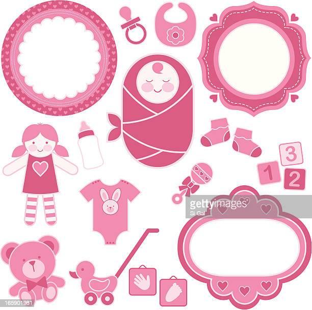 ilustraciones, imágenes clip art, dibujos animados e iconos de stock de niña bebé juego de diseño - baby blanket