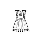 Baby girl dress hand drawn outline doodle icon
