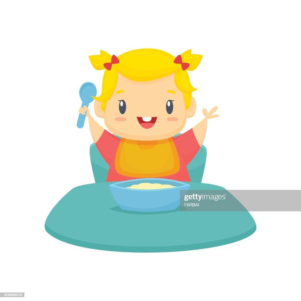 Baby girl eating cartoon illustration vector