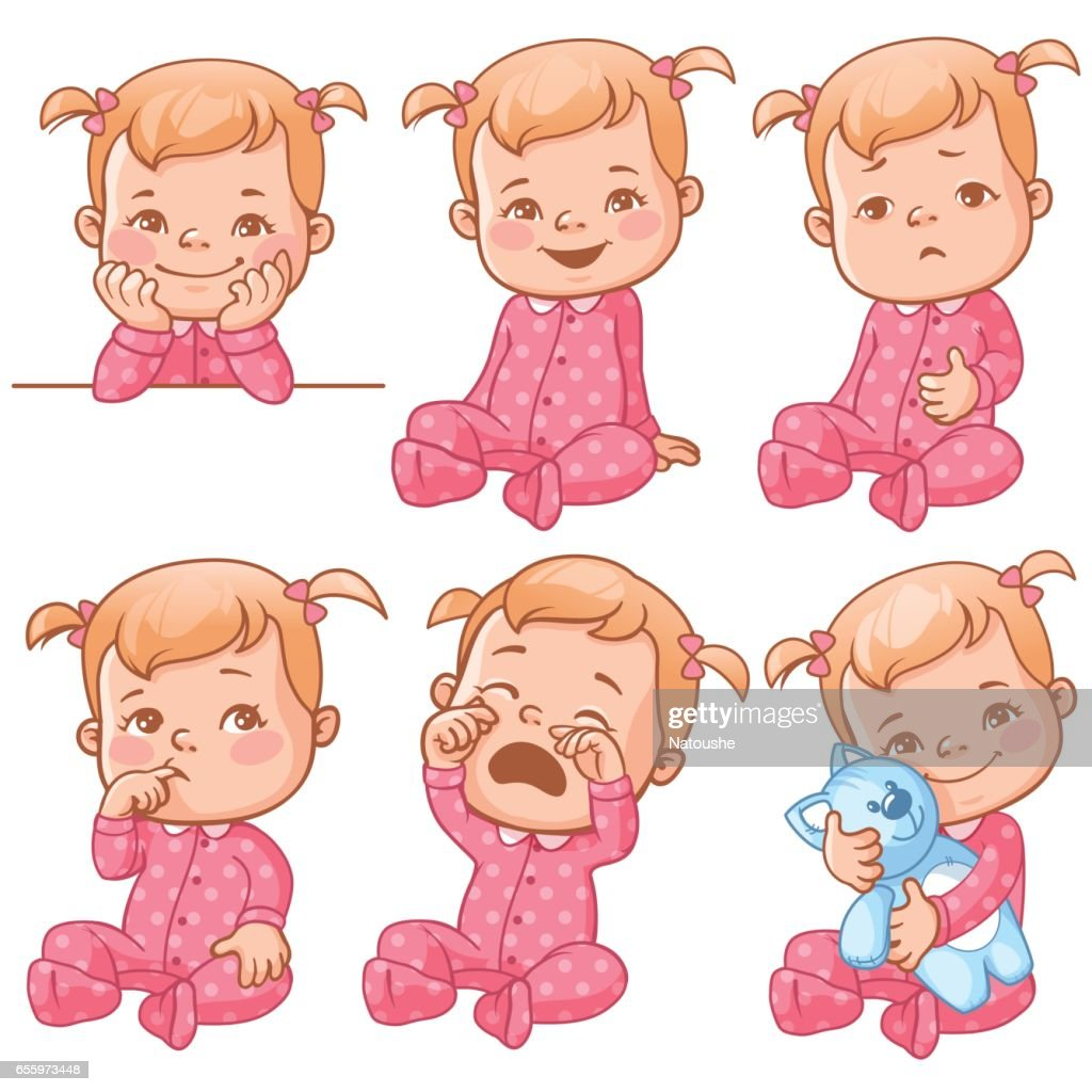 Baby girl emotions set.