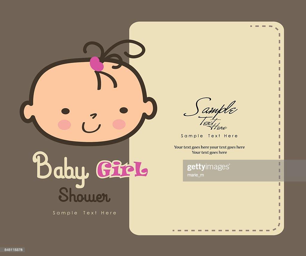 Baby girl face shower card