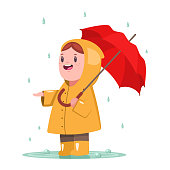 Baby girl in a yellow raincoat and rubber boots is standing with an umbrella in a puddle. Cute child character vector cartoon illustration isolated on white background.