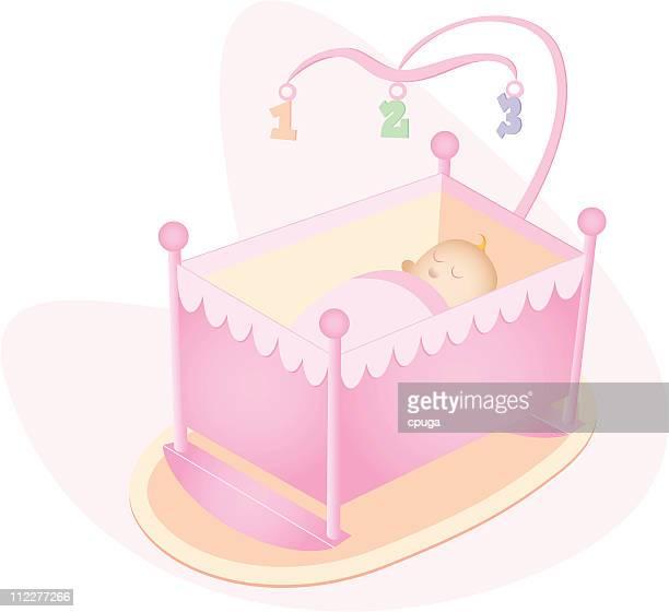 ilustraciones, imágenes clip art, dibujos animados e iconos de stock de niña bebé en una cuna - baby blanket