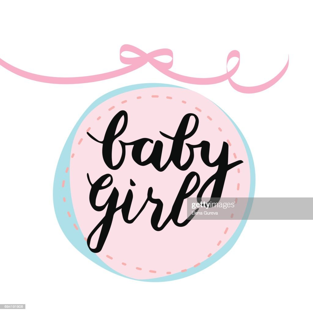 Baby girl lettering vector card.