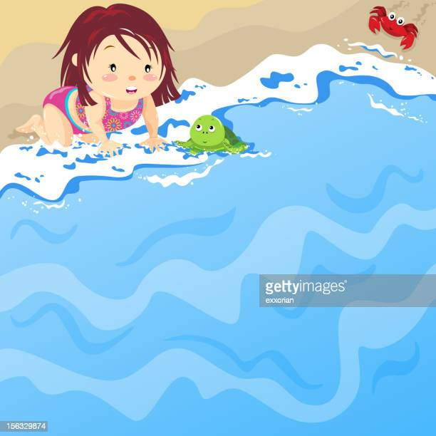 baby girl on the beach with baby tortoise - green turtle stock illustrations, clip art, cartoons, & icons