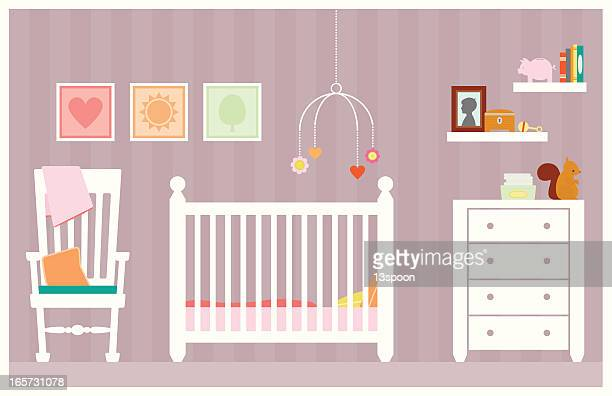 baby girl room - domestic room stock illustrations
