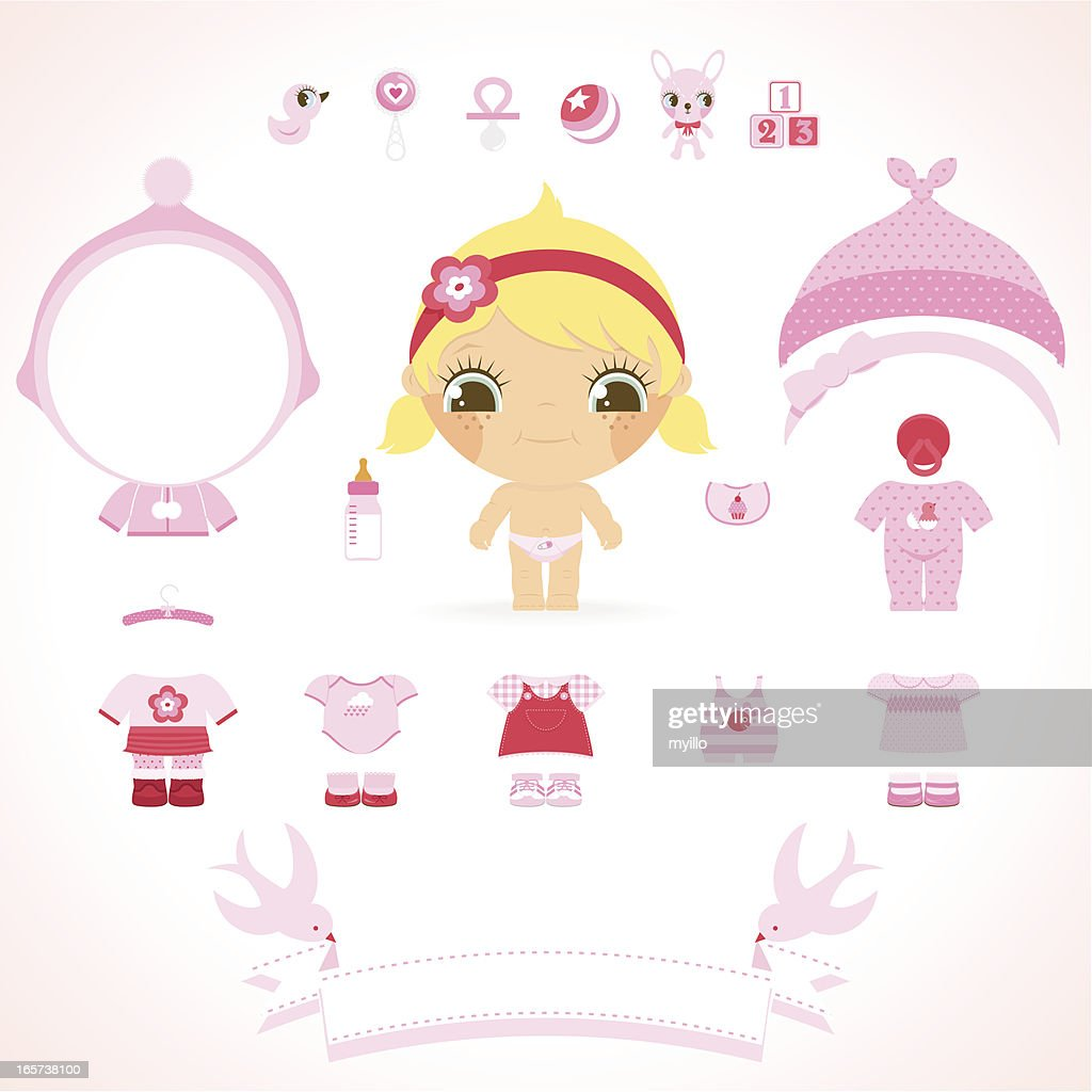 Baby Girl Set Pink Wear Toys And Banner For Name Vector Art Getty
