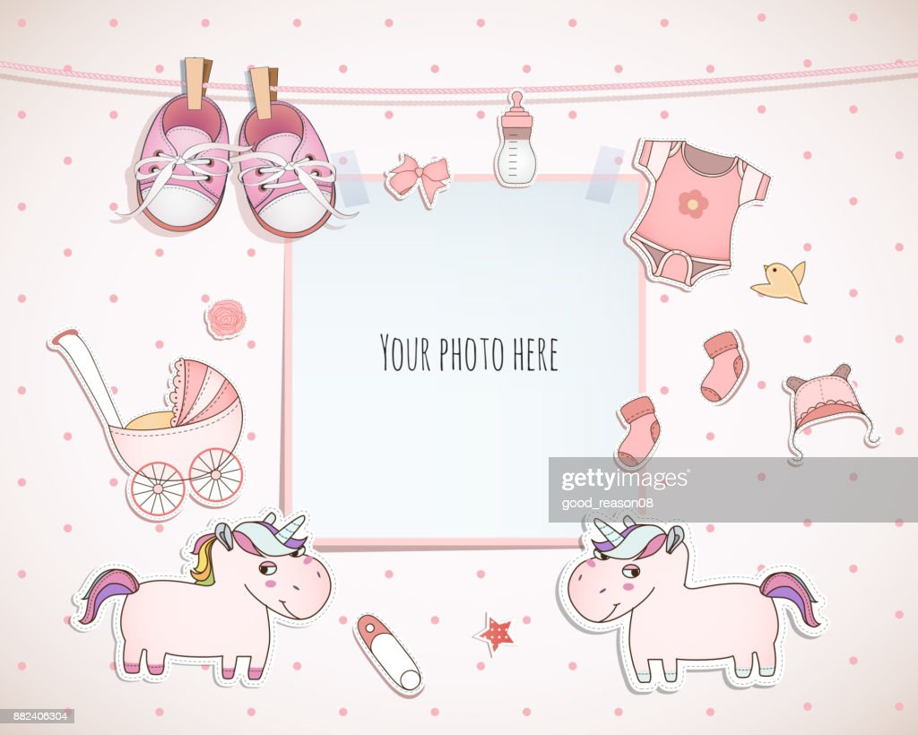 baby girl shower card arrival card with place for your photo vector