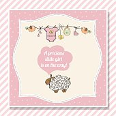 baby girl shower card with little sheep