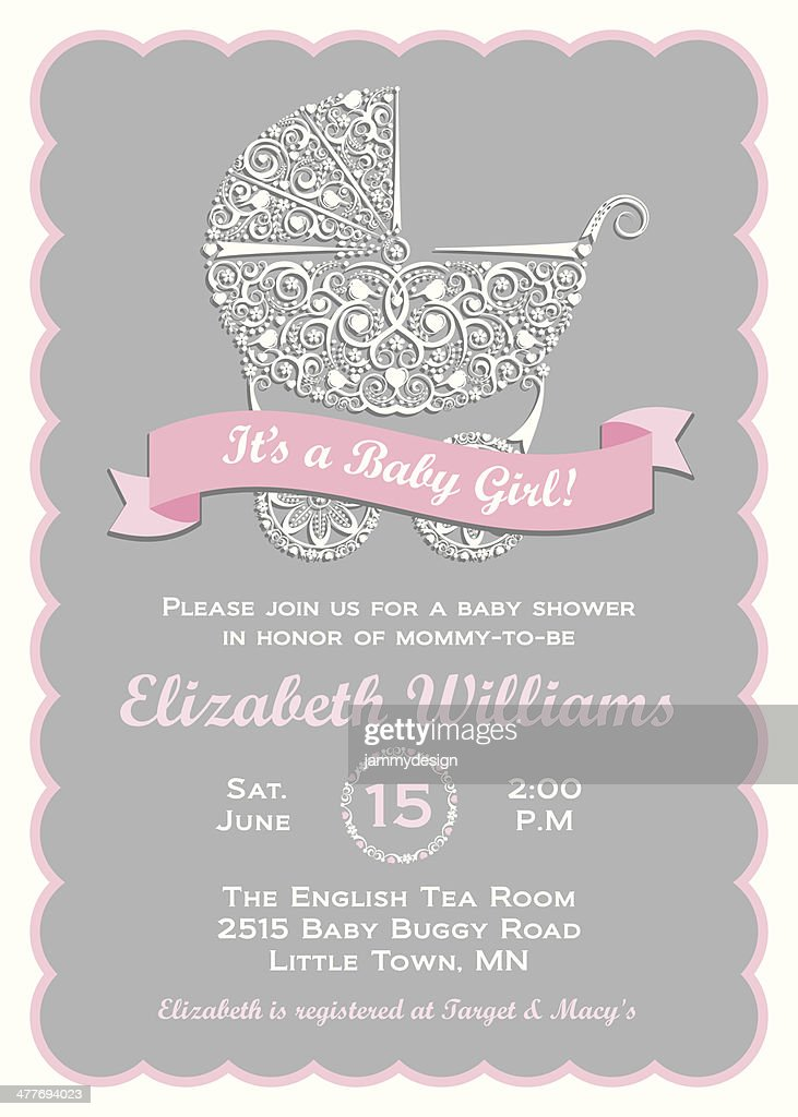 Baby Girl Shower Invitation Vector Art | Getty Images