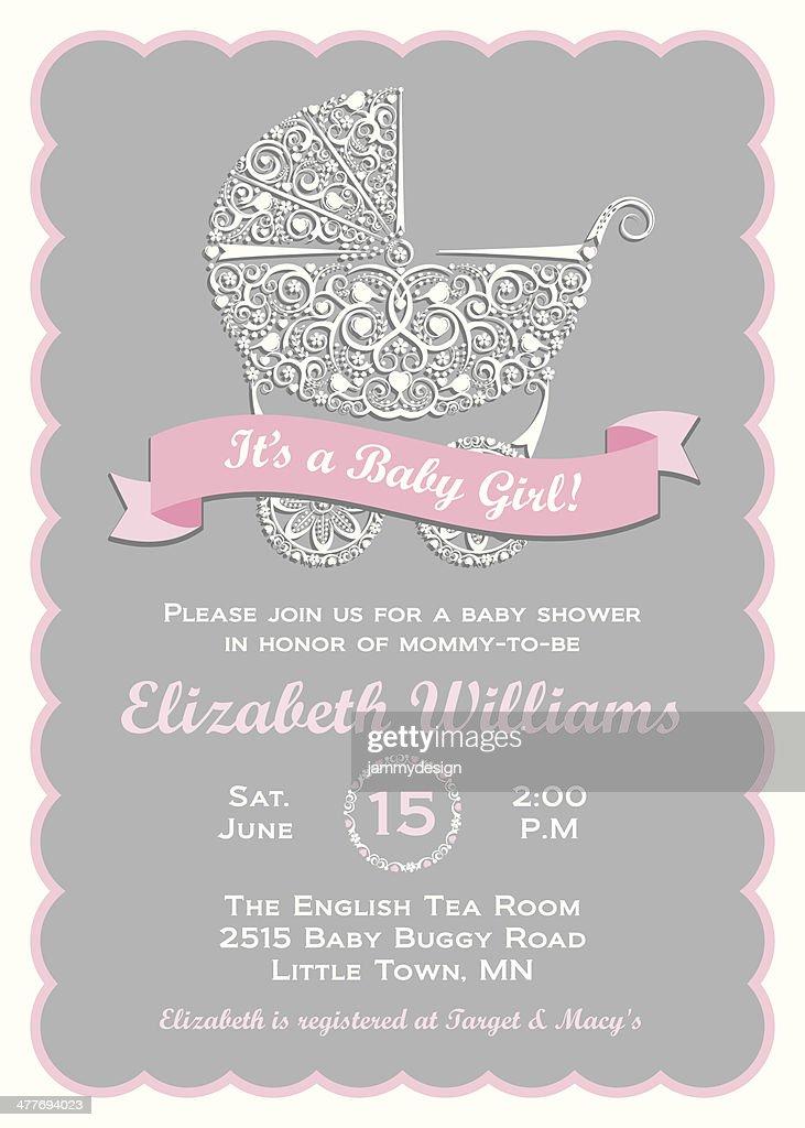 Baby Girl Shower Invitation : Vector Art