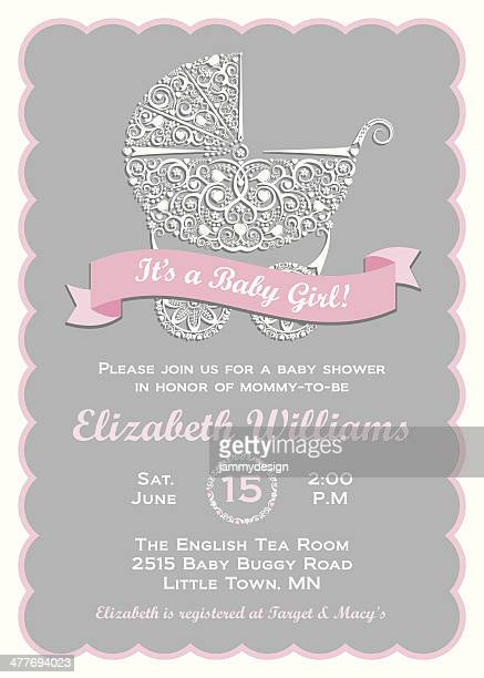 baby girl shower invitation - baby carriage stock illustrations
