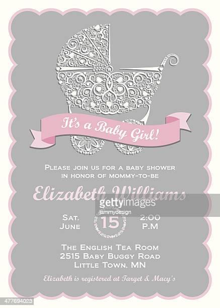 stockillustraties, clipart, cartoons en iconen met baby girl shower invitation - gekarteld