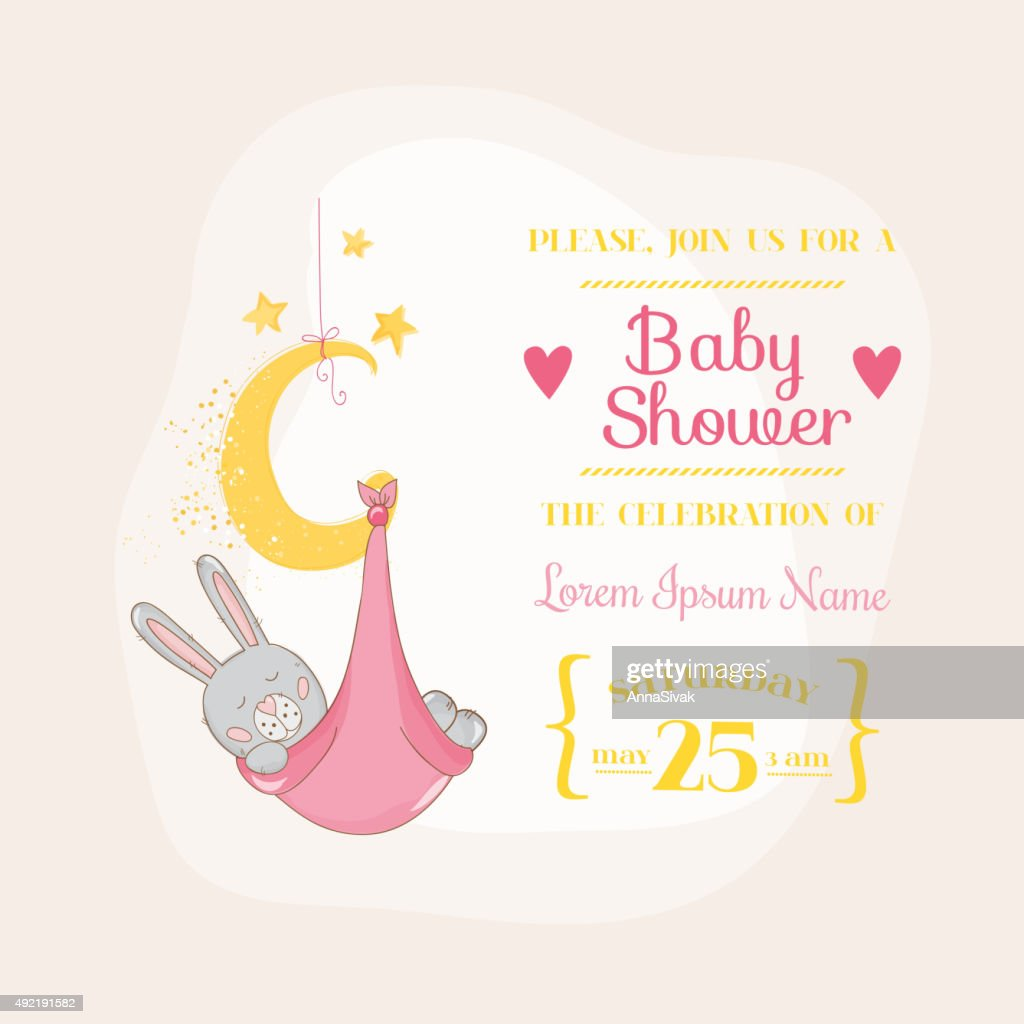 Baby Girl Shower or Arrival Card - with Baby Bunny
