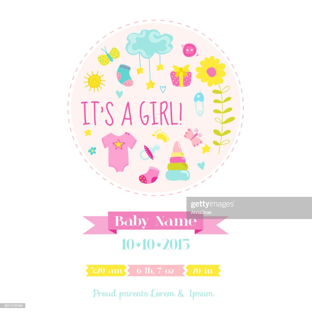 Baby Girl Shower or Arrival Card - with Baby Elements