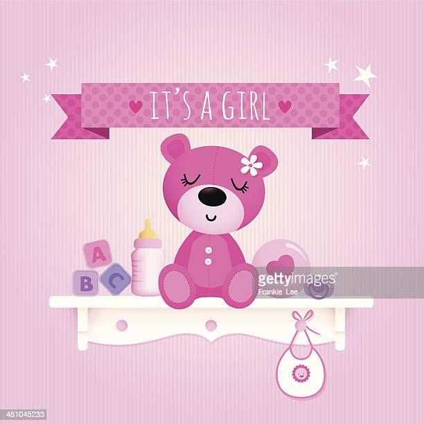 ilustrações de stock, clip art, desenhos animados e ícones de rapariga de peluche - bebe chegando