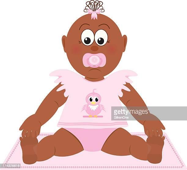 baby girl - baby blanket stock illustrations, clip art, cartoons, & icons