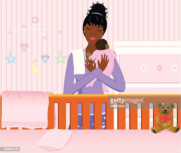 baby girl - blanket stock illustrations, clip art, cartoons, & icons