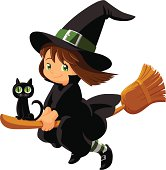 Baby Girl Witch - Wizard with Magick Broom