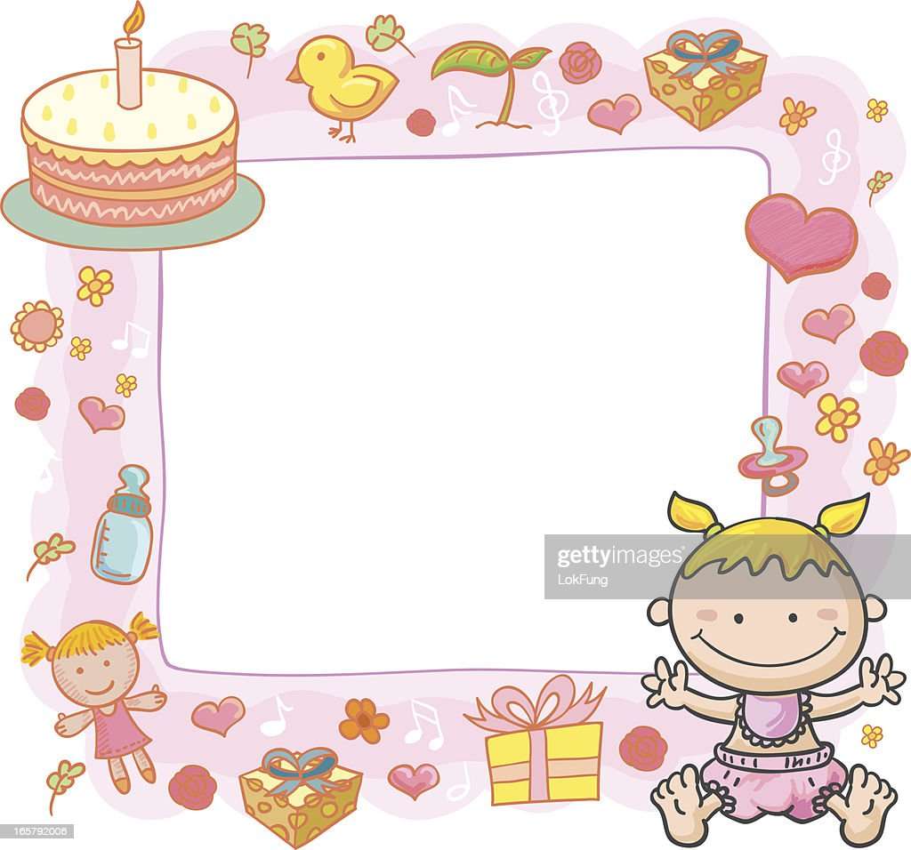 Baby Girl With Ornate Frame Vector Art | Getty Images