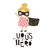 Baby girls superhero isolated on white background. Moms hero text made with creative letters. Perfect for t-shirt print,poster, card,baby shower cards. Vector Illustration