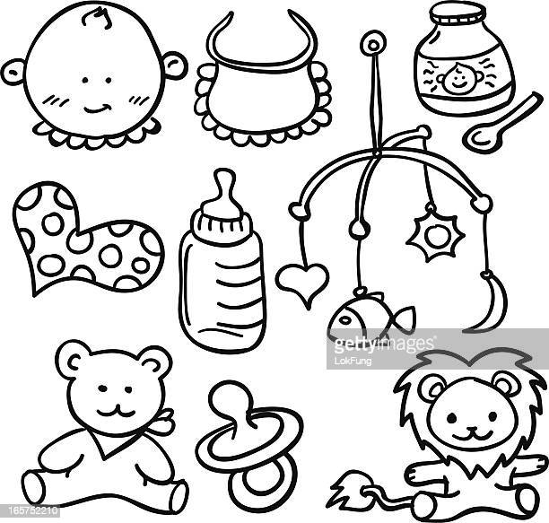 Baby goods collection in black and white