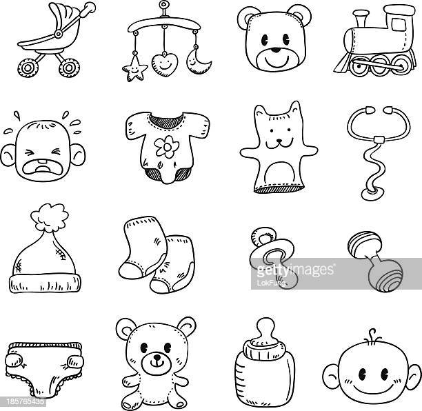 Baby goods in black and white - Illustration