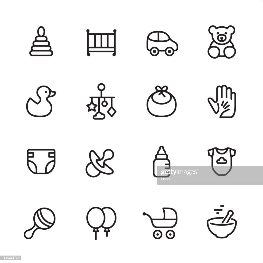 Baby Goods - outline icon set : stock illustration