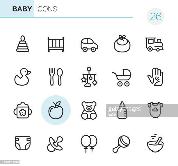 baby goods - pixel perfect icons - childbirth stock illustrations