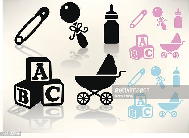 Baby Goods - Rattle, Carriage, Bottle, Blocks, Safety Pin