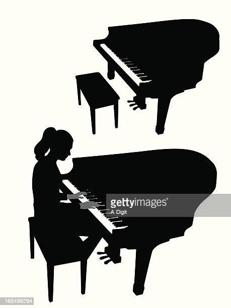 baby grand piano vector silhouette - grand piano stock illustrations