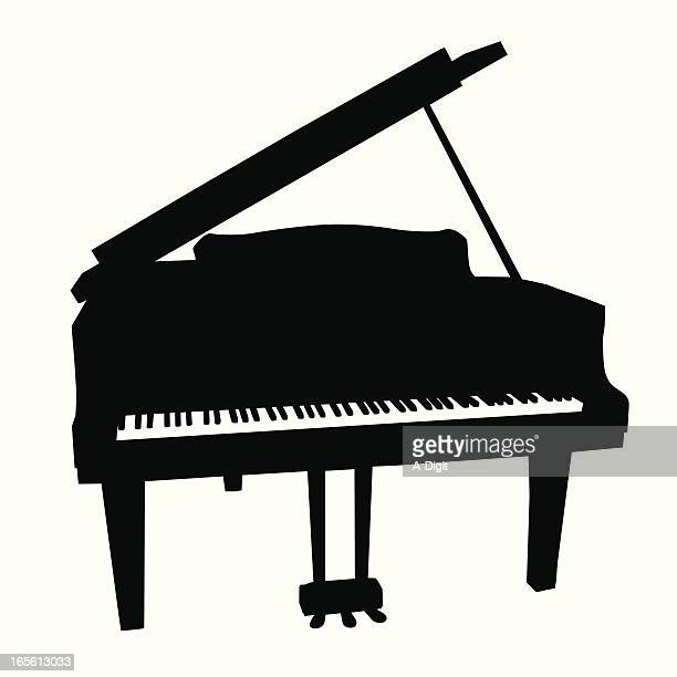 baby grand vector silhouette - piano stock illustrations, clip art, cartoons, & icons