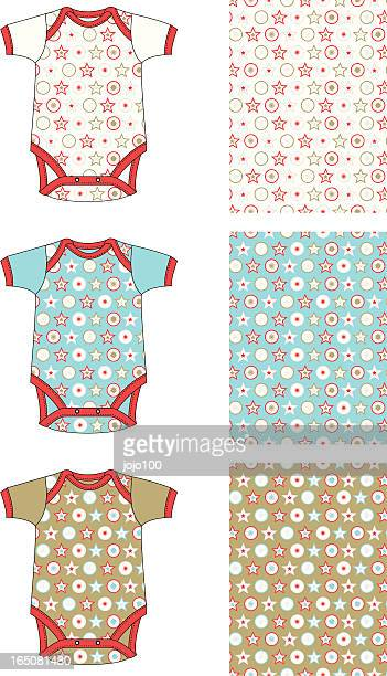 Baby Gro with Christmas Style Stars and Circles Allover Pattern