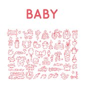 Baby. Hand drawn vintage style. Flat design vector illustration.