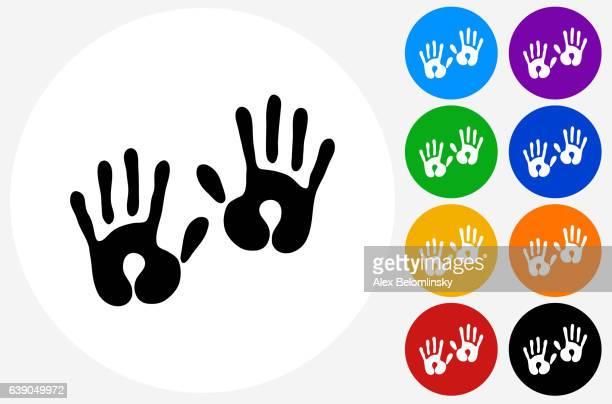 ilustraciones, imágenes clip art, dibujos animados e iconos de stock de baby handprints icon on flat color circle buttons - huella de mano